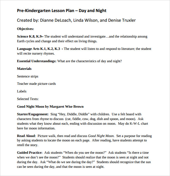 Kindergarten Lesson Plan Templates for Free Download