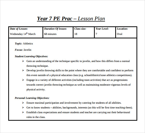 Sample Physical Education Lesson Plan Template Free Documents - Blank lesson plan template for physical education