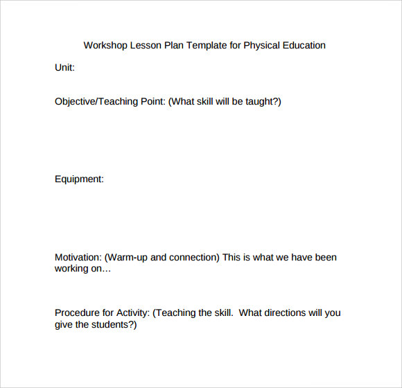 workshop lesson plan template for physical education