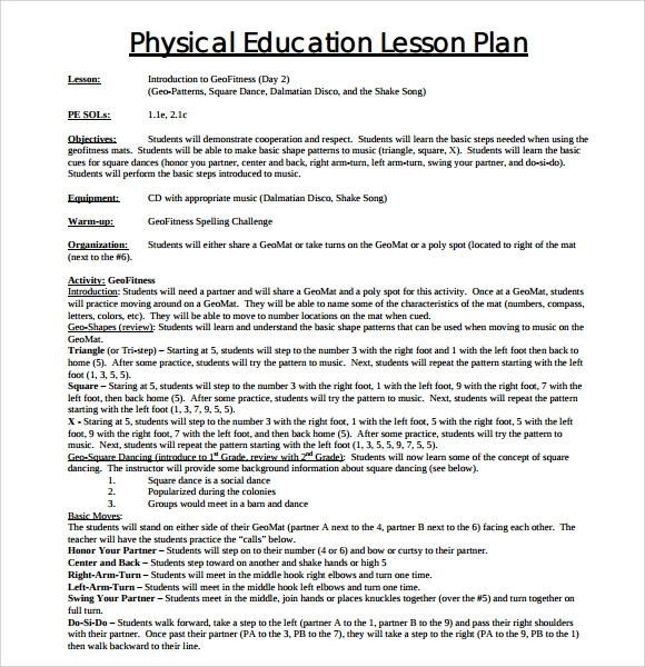 Sample Physical Education Lesson Plan Template   Free Documents