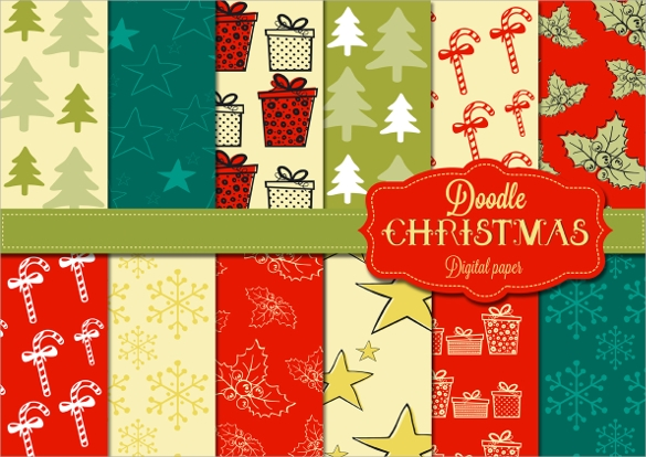 doodle christmas digital papers