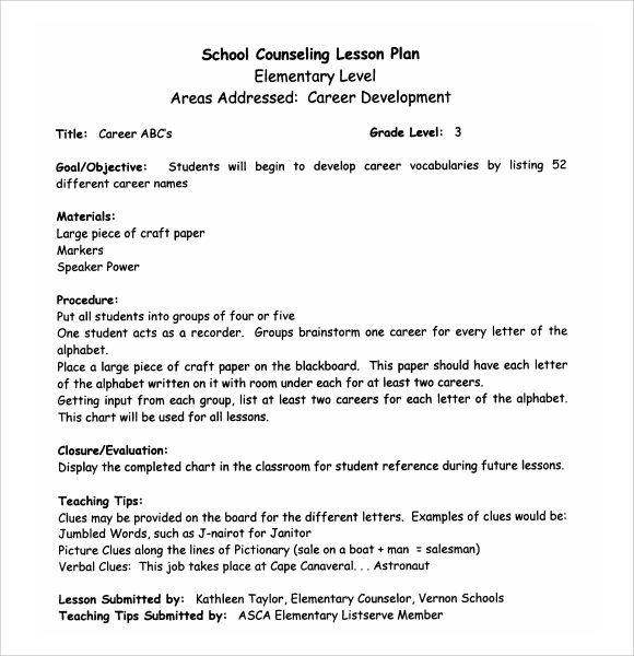 Sample High School Lesson Plan   Documents In Pdf Word