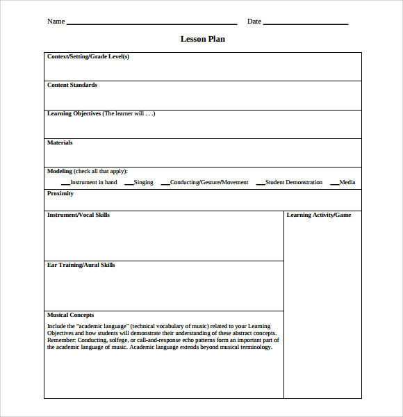 Primary music lesson plan template