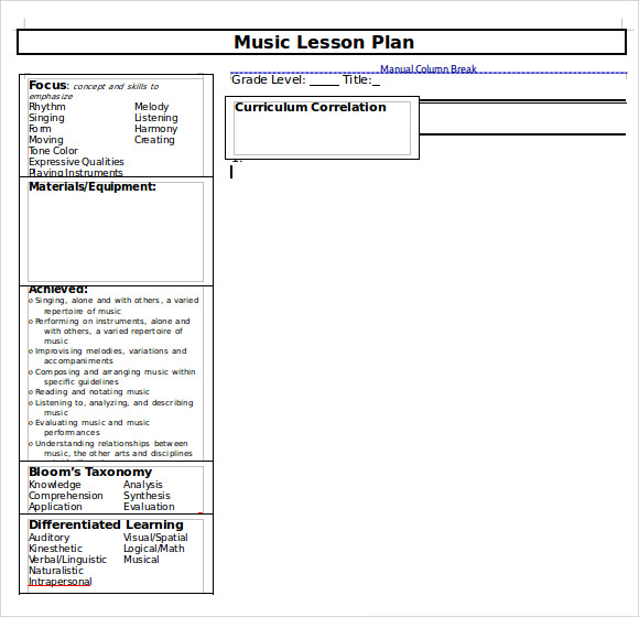 9 music lesson plan templates download for free sample for Lfs lesson plan template