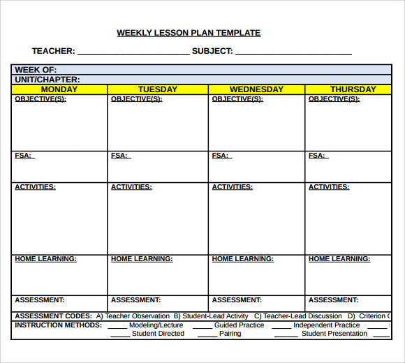 Sample Middle School Lesson Plan Template 6 Free Documents in PDF – Free Weekly Lesson Plan Templates