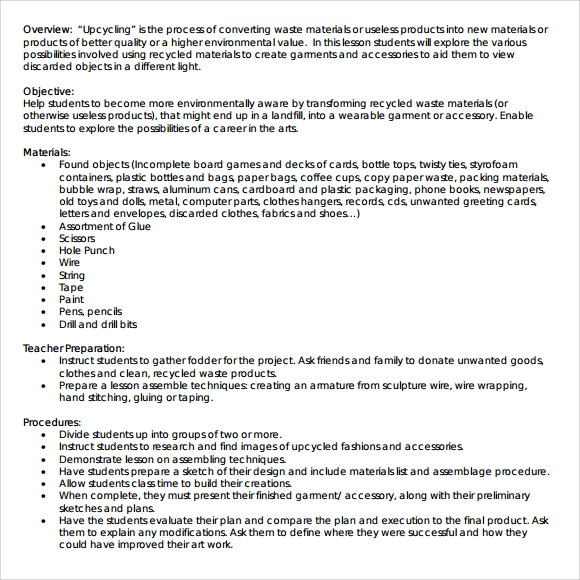 Art Lesson Plans Template - 7+ Download Free Documents in PDF | Sample ...