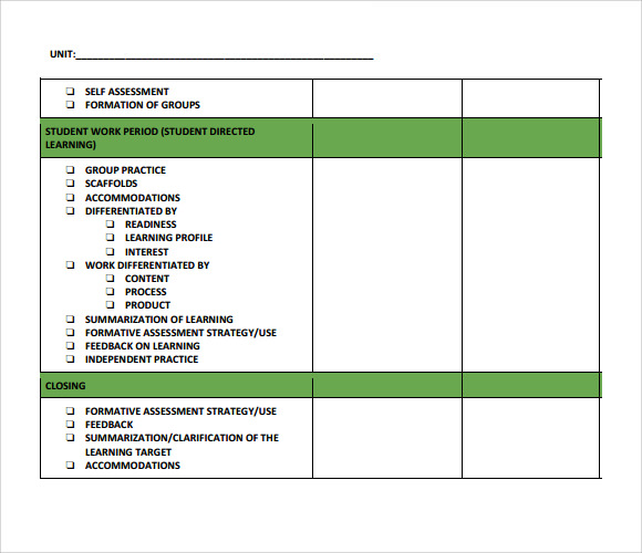 Sample Unit Lesson Plan Template Sequencing Lesson Plan For