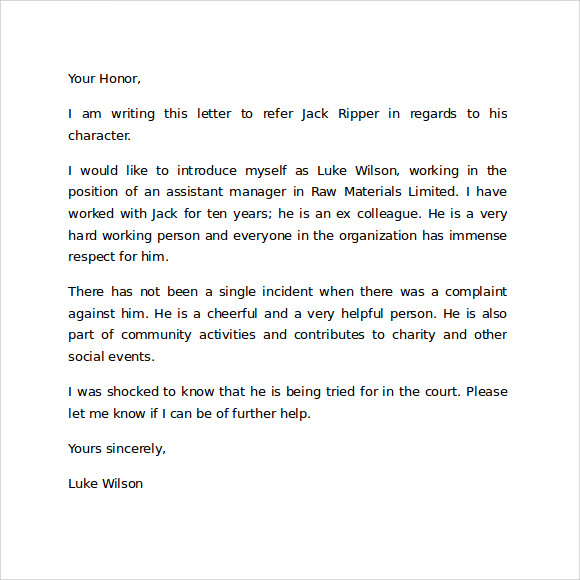 Sample Character Reference Letter Template Character Reference