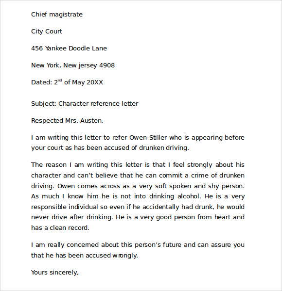 character reference letter for court reviews
