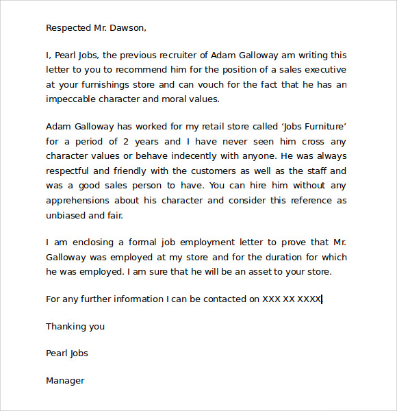 free examples of character letter for child custody 7  Character Reference Letters for Court Samples | Sample Templates