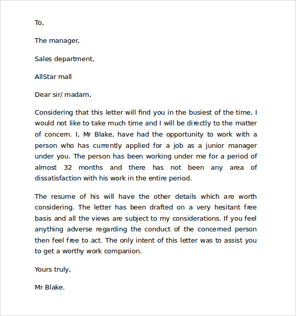 10 Reference Letter Format Download for Free Sample Templates