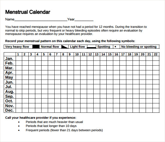 Sample Menstrual Calendar Template   Free Documents In Pdf  Word