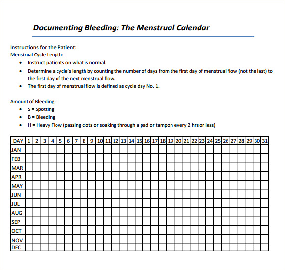 sample menstrual calendar template