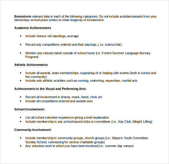 microsoft scholarship resume outline - Scholarship Resume
