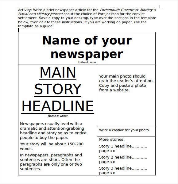 microsoft newspaper template