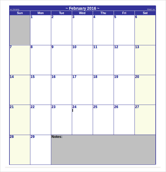 ... Calendar Template -8+ Download Free Documents in Word , Excel