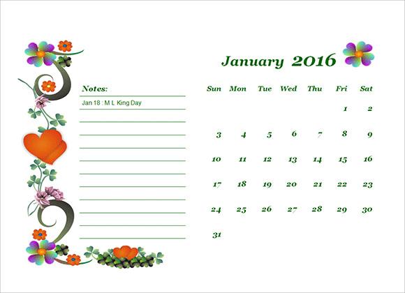 sample microsoft calendar template