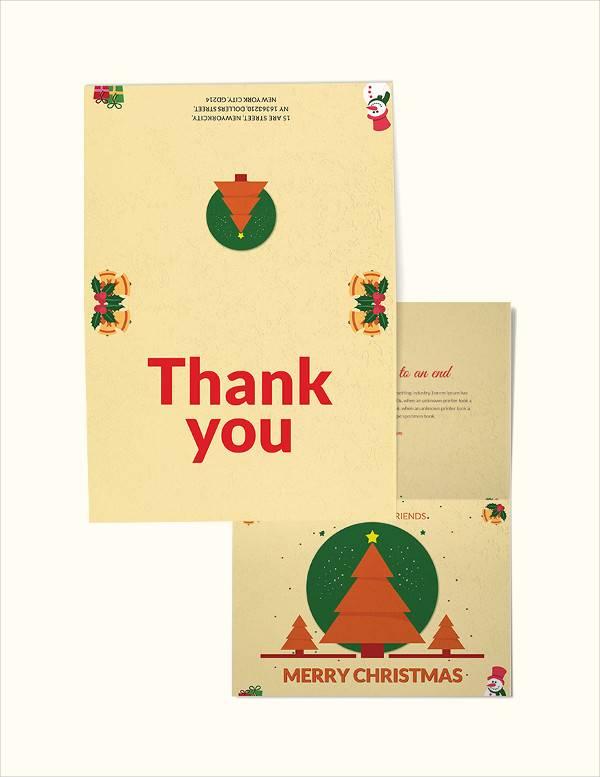 christmas bi fold thank you card template