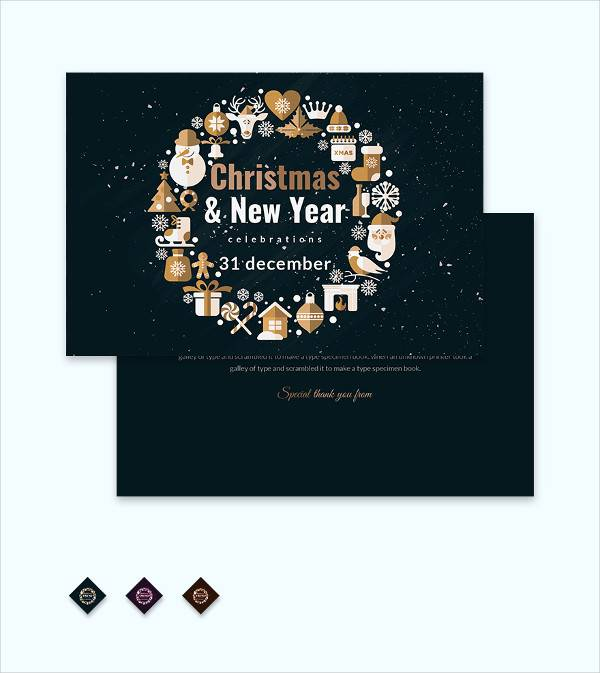 christmas celebration thank you card template