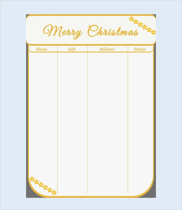 christmas shopping gift list