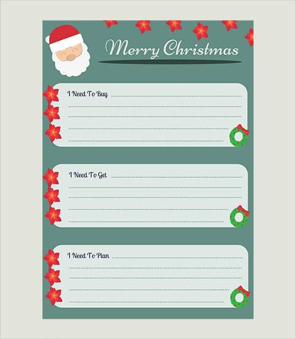 Christmas List Template.Sample Christmas List 21 Documents In Pdf Word