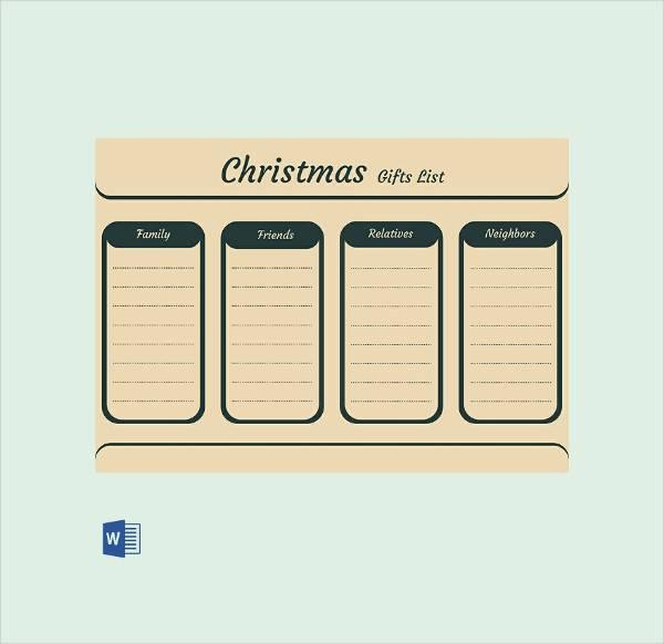 editable christmas gift list