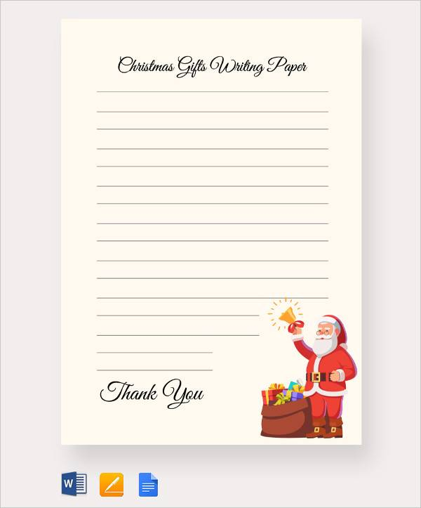 free christmas gifts writing paper template