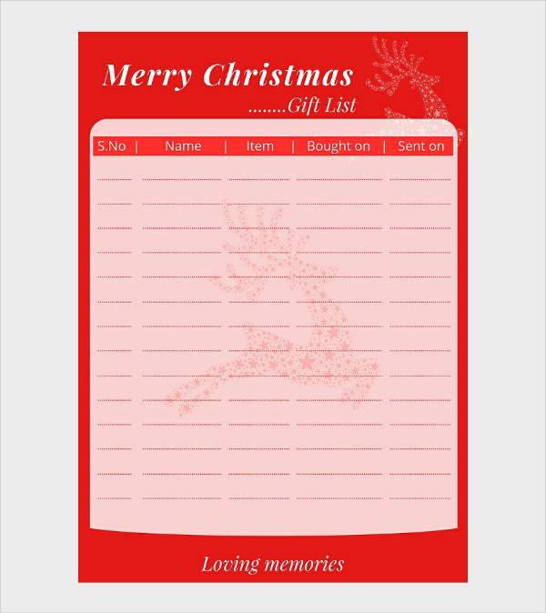 free christmas present list