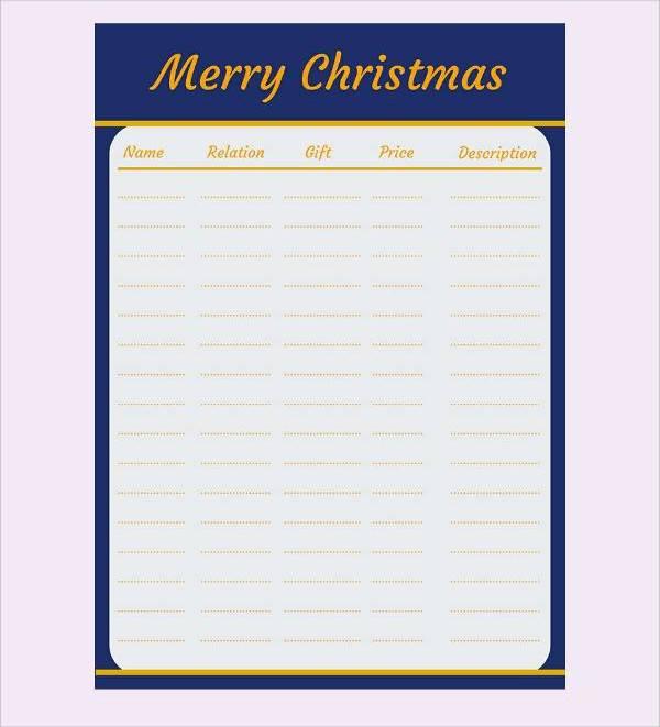 merry christmas gift list