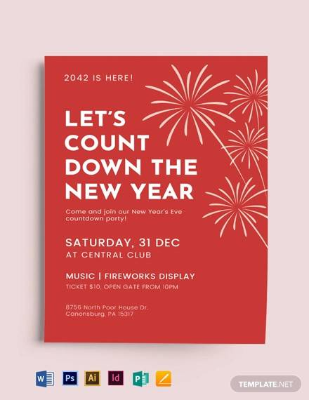 new year party event flyer template