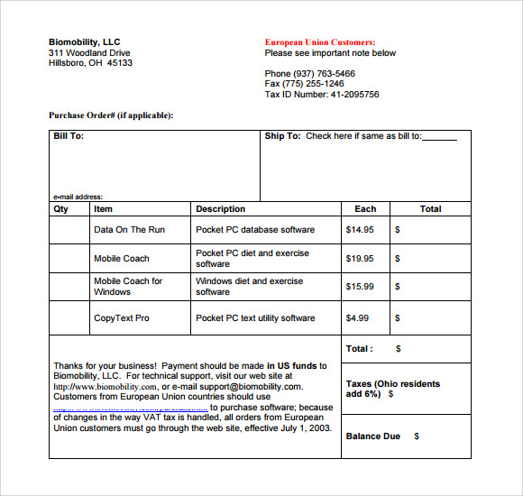 Sample Microsoft Invoice Template