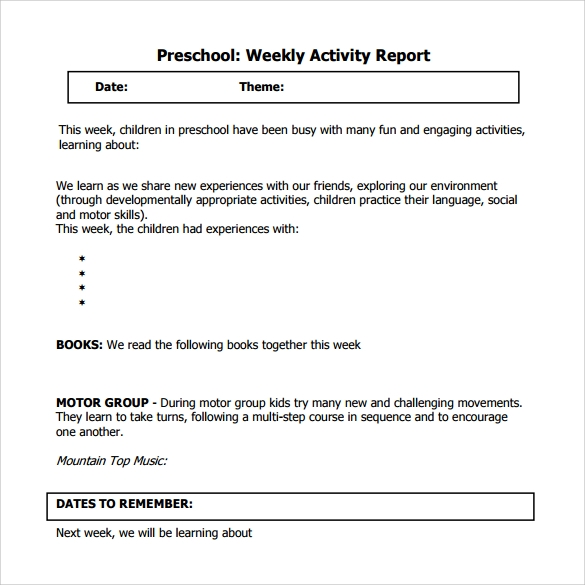 Sample Weekly Activity Report 8 Documents in Word PDF – Sample Weekly Report