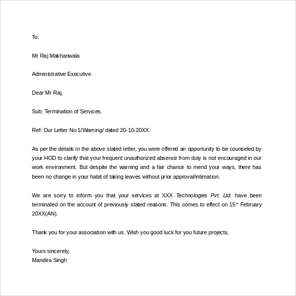 letter of employee termination template sample employment – Termination of Employment Template