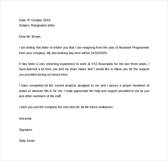 Sample 2 Week Resignation Letter  Sample Resignation Letter 2 Weeks Notice