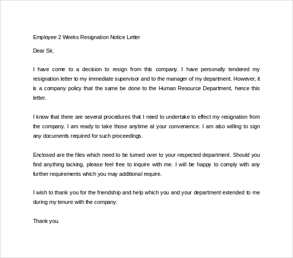 resignation notice sample
