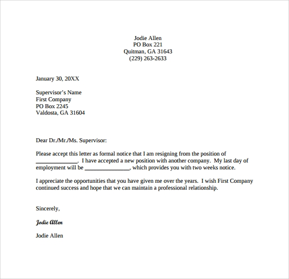 Simple 2 Weeks Notice Letter