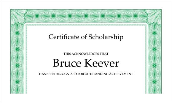 scholarship award certificate templates word