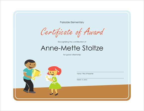 26 microsoft certificate templates download free documents in award certificate template yadclub Image collections