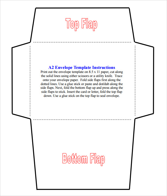 photo about Printable Envelope Template Pdf titled Pattern A2 Envelope Template - 7+ Information within Term, PDF