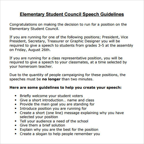 Free Student Council Speech