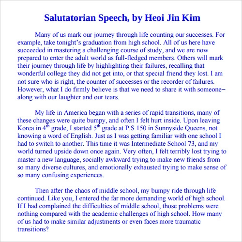Salutatorian Speech Sample