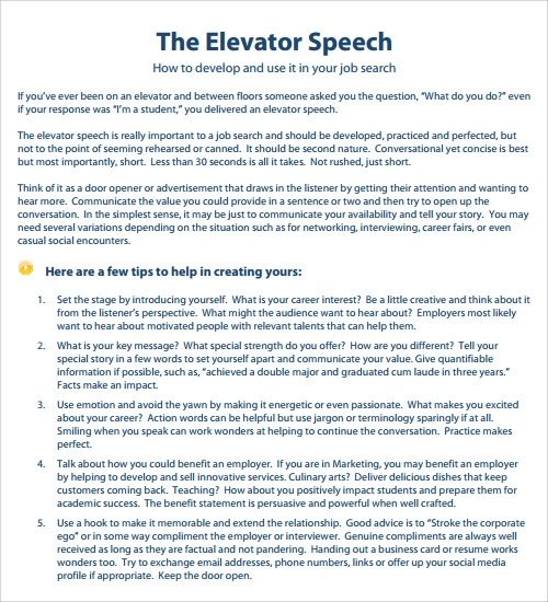 Good Sample Elevator Speech