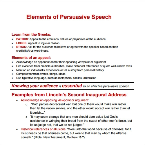 Free Persuasive Speech Template