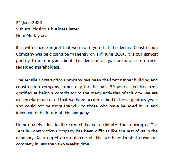 Closing Business Letter 7 Download Free Documents In