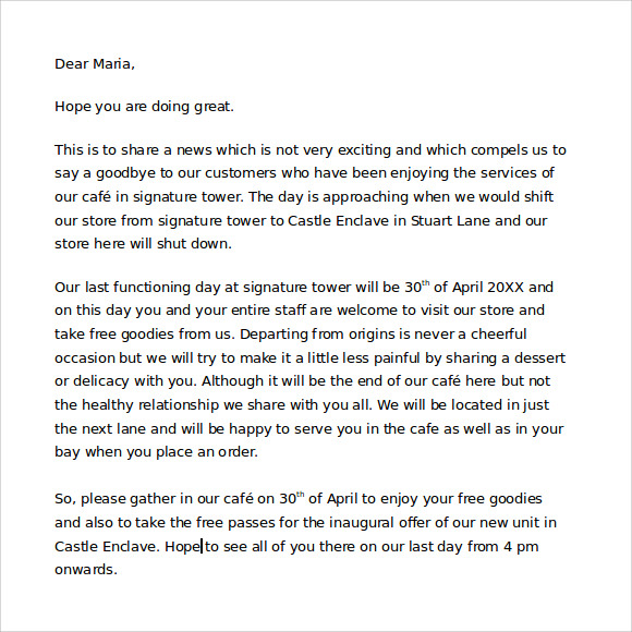 7 Sample Closing Business Letters Sample Templates