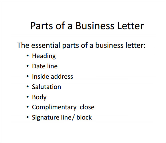 Parts Of A Business Letter 8 Download Free Documents In