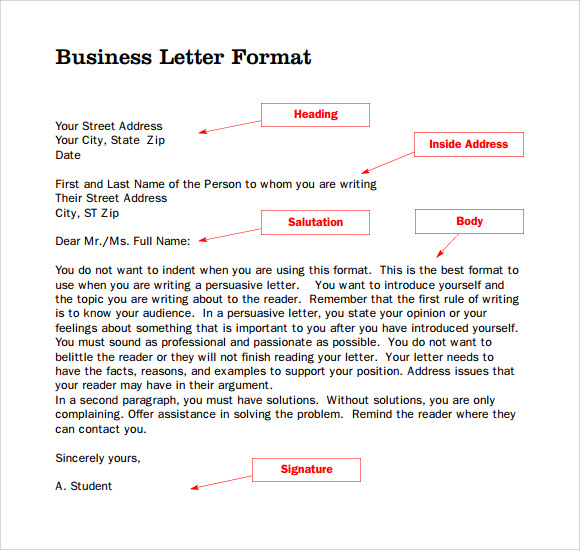 Parts Of A Business Letter - 8+ Download Free Documents In Pdf , Ppt