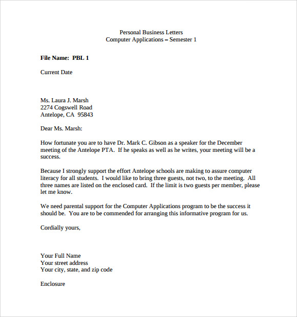 personal business letter example
