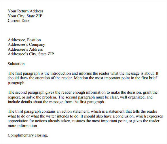 personal business letter format example