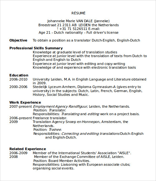 resume templates microsoft word - Resume Templates Download Free Word